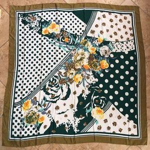 BYL Vintage Scarf 100% Silk Green Polka Dot Floral